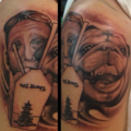 Tattoo of Dave's pug, Wonton, Tattooed at Kreept Tiki Tattoo