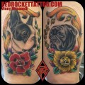 Pug Vs. Boston Terrier -  Tattooed by Vinny Romanelli at Red Rocket Tattoo, New York, US