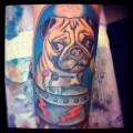 Tattoo of Whitney's beloved pug Frankie in a spaceship, Tattooed by Wil at Randy Adams tattoos