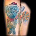 'Sweet' Pug Face Boy - Tattooed by Mike Biggs at Studio 21 Tattoo in Las Vegas, USA