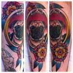 Leg Pug Tattoo Sanchez Hunter and Fox Tattoo Sydney Australia