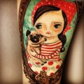 Scampi & Sookie - Michelle's lovely Arm Tattoo by heather Alvin at Lady Luck Tattoo