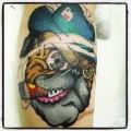 Smoking English Bulldog - Tattooed by Jon Piper at Anchor Tattoos