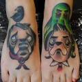 Matching Feet Pug Tattoos - Tattooed by Jonathan Medina at Low Tide Tattoos