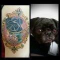 Black Pug Portrait - Tattooed by Alex Trufant at Trufant Bros Tattoo in San Angelo, TX, USA