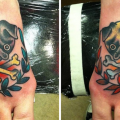 Fawn and Black Pugs & Crossbones - Tattooed by George Patton at Lacey's Finest Tattoo