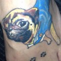 Pug & Footprints - Tattooed at Grafix Tattoo Studio in Blackburn, UK