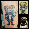 Smoking Pug in a Suit - Tattooed by Manu Londono of Wild Cat Percing & Tattoo in Denmark