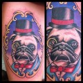 Sophisticated Pug Portrait - Tattooed by Anthony Guido at Mighty Horseman Tattoo co - check him out on facebook.com/anthonygtattoo