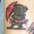 Tightrope Walking Pug - Tattooed by Patrick Cornolo at Speakeasy Custom Tattoo, Chicago