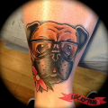 Hipster Pug - Tattooed by Beau of Loaded Forty Four Tattoo - Instagram: beautattoo