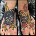 Yoda & Boss the Pugs -  Tattooed by Leonie New at Voodoo Ink in St Kilda, AUS