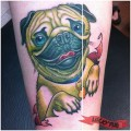 Happy Pug - Tattooed by Angie Fey of Archive Tattoo