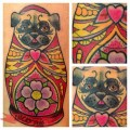 Russian Doll Pug - Tattooed by by Loo Pimble of Mr Beards of Kington, UK