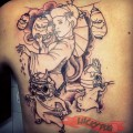 Samurai Pug Work in Progress - Tattooed by Alvaro Contreras at Mr Cworlwy Tattoo Studio