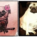 Adele the Hula Girl Pug - by Skin Deep Tattooing, Waikiki Beach, Hawaii