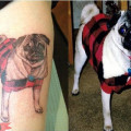 Memorial Tattoo of Java the Pug - Tattooed by Jim LoPrfesti of Lucky Soul Tattoo, CT, USA