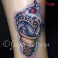 Scoop of Pug - Tattooed by Josh Herrera of Skin Factory Tattoo, Las Vegas, USA