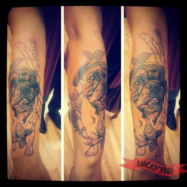 Sherman the pug tattooed at gabe of love n hate elite for Love n hate tattoo