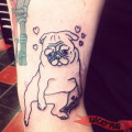 Arm Pug Tattoo on Cassie Baunman