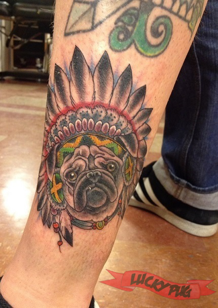 Color pug tattoos on legs pug tattoo picture gallery for Tattoo shops in omaha ne