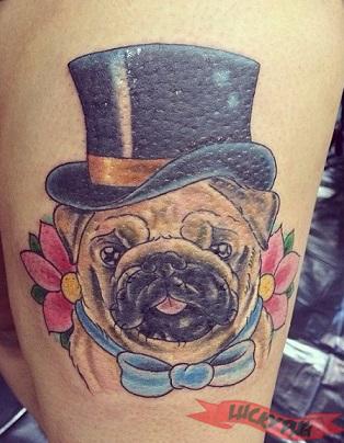 Color pug tattoos on legs pug tattoo picture gallery for Corpus christi tattoo shops