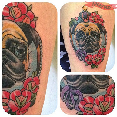 Color pug tattoos on legs pug tattoo picture gallery for Jody s tattoo shop