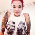 Romantic Pugs Tee - Melissa Szeto (who designed this tshirt!) of Love Hate Tattoo Studio, London, UK
