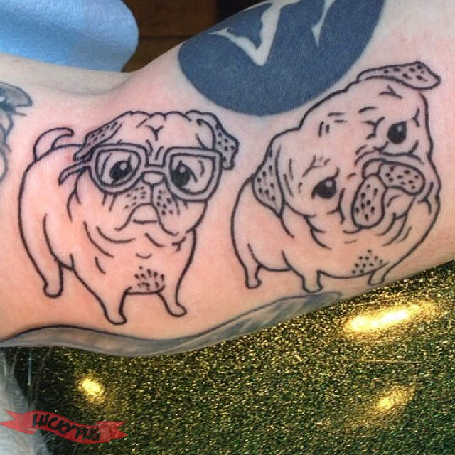 Tattoo By Patrick Cornolo: Black And Grey Arm Pug Tattoos