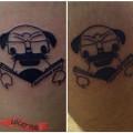 Matching Pug Tattoo - by IG @roadkill_riley_tattoos
