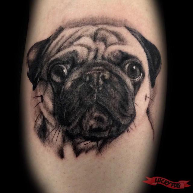 black pug tattoos pictures to pin on pinterest tattooskid. Black Bedroom Furniture Sets. Home Design Ideas