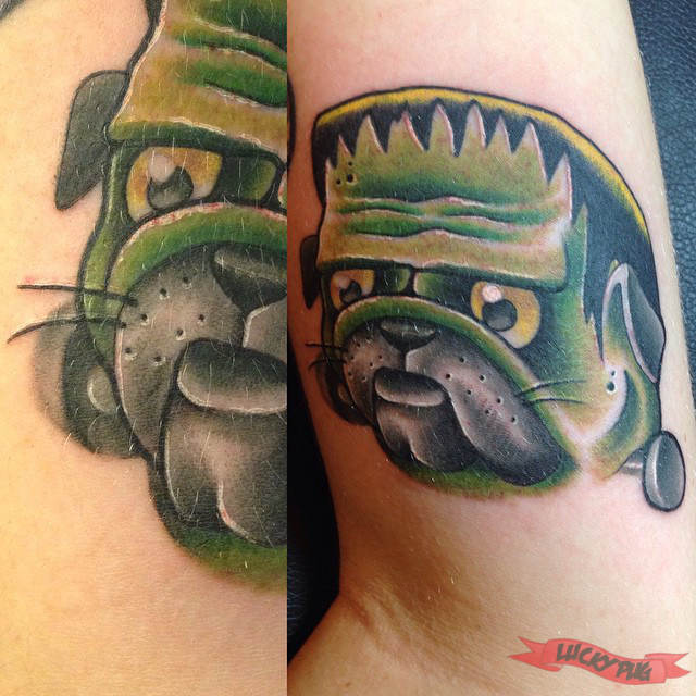 color arm pug tattoos picture gallery sleeve pug tattoo designs. Black Bedroom Furniture Sets. Home Design Ideas