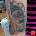 Kat's fifth pug tattoo - by Helena Heath
