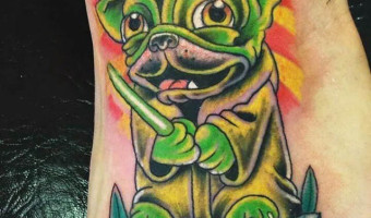 yoda-foot-pug-tattoo-on-mat-brown-by-the-living-canvas-scarborough-north-yorkshire-uk