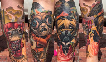leg-sleeve-pug-tattoo-on-delaney-frazier-by-scott-olive-of-oddity-tattoo-fl