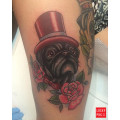 Leg Pug Tattoo of Kramerthepug by Melanie Milne
