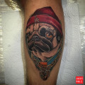 Pug Life tattoo by Alvaro Contreras of Wanted Tattoo Studio