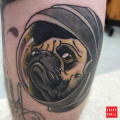Space pug tattoo submitted by IG jeffbulttattoos