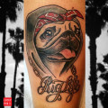Pug Life tattoo by Ayako of MTL Tattoo