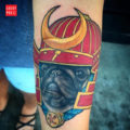 Samurai Pug Tattoo on Diana, by Andrew Tan