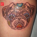 Dot work Pug Tattoo on Josey St-Pierre, by Cory Crosbie of DFA Tattoo