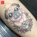 Leg pug tattoo by Lilian Raya of La Capsula Ink