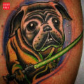 Yoda Pug Tattoo on Cody Setzer by Todd Lamere at Body Art Tattoo Plattsburgh NY