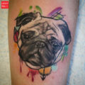 Water Colour Pug Tattoo by Andy Joss