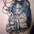 Geisha Pug Tattoo - on Andy n Colin - by Kiera Loco Lee of