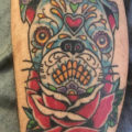 Sugar skull Pug Tattoo by Ryan Tanton of the American Tradition Sacramento, CA