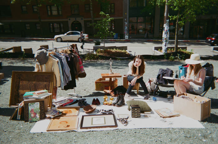 yard sale selling unwanted clutter