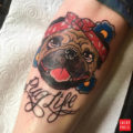Pug Life Tattoo by Conan Dopadlik, Newmarket UK