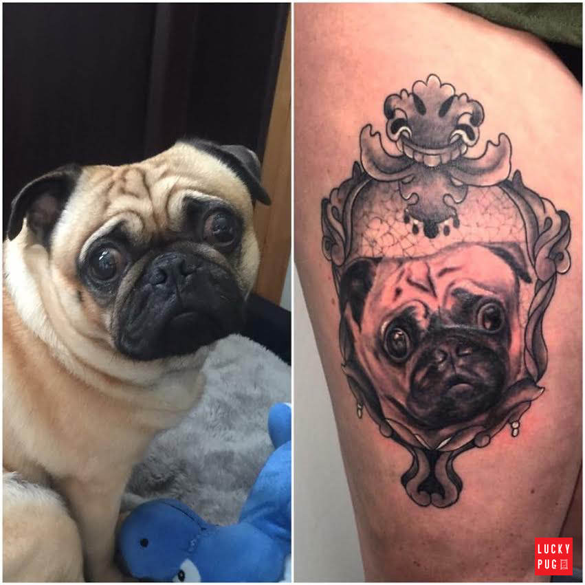 Black & Grey Pug Tattoos on Legs | Pug Tattoo Picture