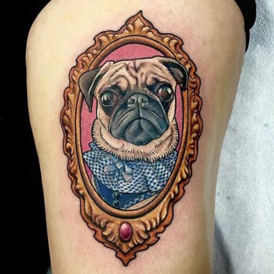 Pug Tattoo by Chris Longo's Town Hall Tattoo